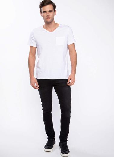DeFacto Tek Cepli V Yaka Slim Fit T-shirt Beyaz